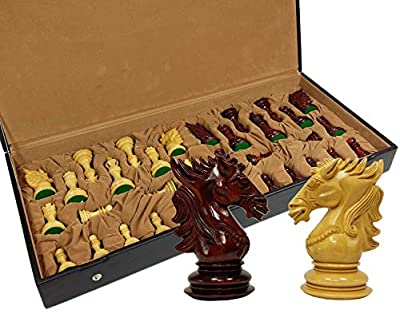 HPL Blood Rosewood Dragon 4 5/8 Inch King 4 Queens Large Luxury Staunton Chess Men Set with Flat Vinyl Storage Box - NO Board