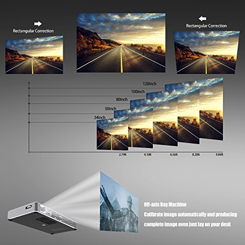 Roadwi DLP Mini Projector Probable Pico Projector, Android UI 4.4.4 Operating System With 120 Inch Display Support 1080P WiFi/Bluetooth/USB/HDMI/TF Card/Audio Speakers with Free Tripod by roadwi (Image #2)