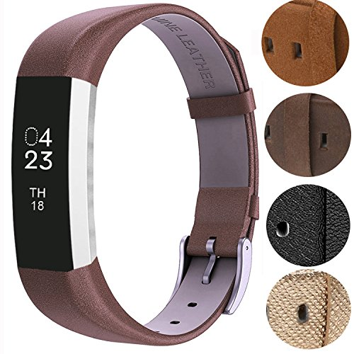Design Genuine Leather (For Fitbit Alta HR and Alta Bands, VOMA Design Genuine Leather Wristbands/Replacement Bands/Accessories for Fitbit Alta HR and Alta Chocolate Brown)