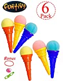 frog popper toy - FUNTIVO Ice Cream Shooters with Plastic Cone and Sponge Ball, 5 Inches Ice Cream Shooter Toy – Random Colors (Pack of 6)