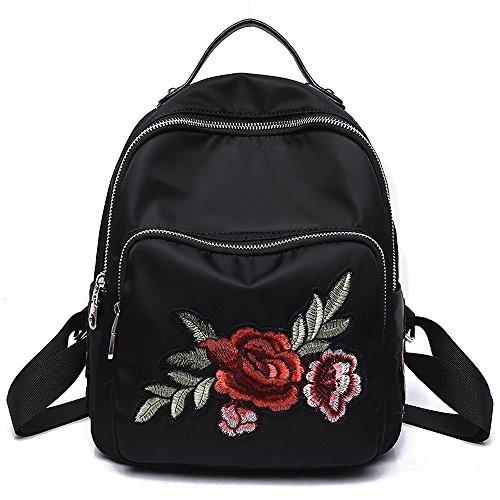 YSMYWM Women Rose Embroidered Design Backpack Mini Travel Backpack Girls School Bag Shoulder Bag (Rose) Black Embroidered Leather Backpack