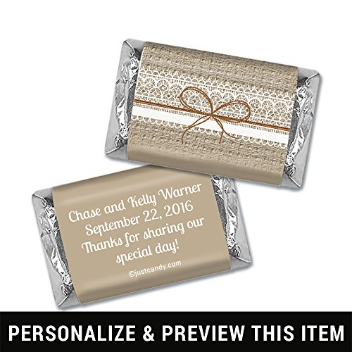 Personalized Miniature Candy Bars - Wedding Favors Personalized Burlap & Lace Mini Wrappers for Hershey's Miniatures (100 Wrappers)