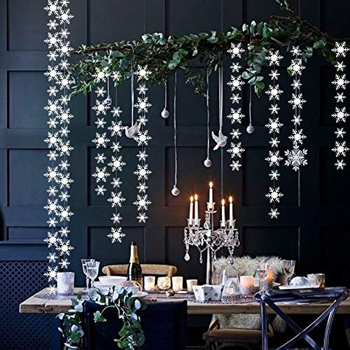 3 Pack White Paper Snowflakes Hanging Garland, Winter Christmas Hanging Snowflake Decorations, Snowflake Decor for Christmas Winter Wonderland Holiday New Year Party Home Decoration ...