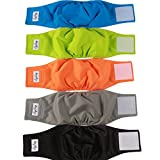 JoyDaog Reusable Belly Bands for Dogs,(5 Pack) Premium Washable Dog Diapers Male Puppy Nappies Wrap by, L