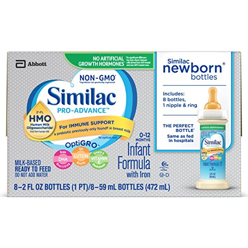 Similac Pro-Advance Infant Formula with 2'-FL HMO for Immune Support, Ready to Feed Newborn Bottles, 2 fl oz, 8 bottles (Pack of 6) Newborn Baby Formula