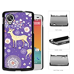 Reindeer With Flower And Heart Horns Purple Hard Plastic Snap On Cell Phone Case LG Nexus 5