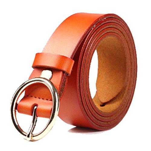 Decoration Genuine Leather Belt - Respeedime women's Genuine leather belt wild Alloy buckle classic fashion decoration belt orange waist26-34