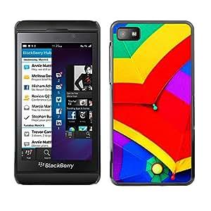 Qstar Arte & diseño plástico duro Fundas Cover Cubre Hard Case Cover para Blackberry Z10 ( Umbrellas Colorful Rain Sky Red Yellow Green)