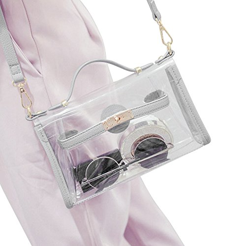 Yocatech Transparent Crossbody Bags Clear Messenger Bags for Women NFL Stadium ApprovedAdjustable Strap (Grey)