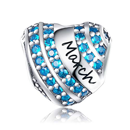 XOYOYZU Birthstone Charm for Pandora Charms Bracelet 925 Sterling Silver Bead Openwork Birthday Charms for Bracelet and Necklace (March)