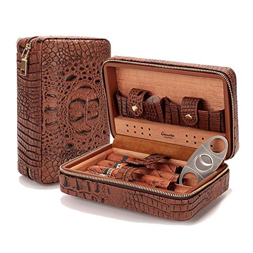 Lagute Groucho Leather Cigar Case Humidor with Cutter and Dropper, Cedar Wood Lined, Humidifier and Removable Trays, Portable Travel Cigar Box Gift Set for 4 Cigars ()