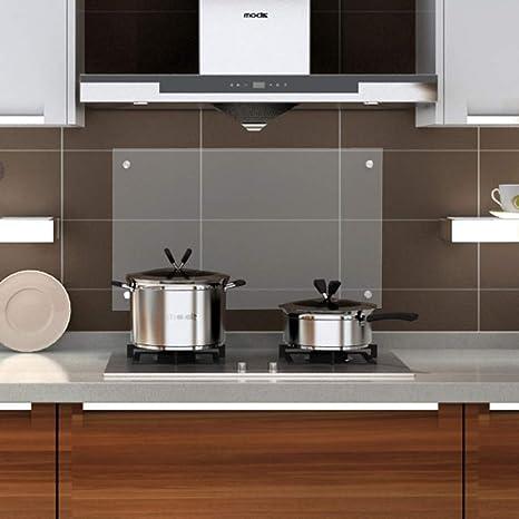 wolketon Küchenrückwand Spritzschutz Glas Klarglas Küchenrückwand für  Küche, Herd, Fliesen viele Größen (Klarglas, 50x90cm)