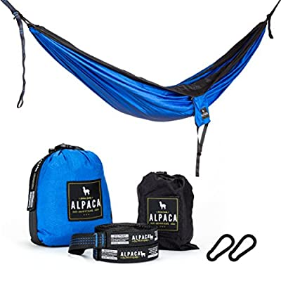FLASH SALE: Alpaca Outfitters | Double Parachute Camping Hammock - Comes with Adjustable Tree Straps and Heavy Duty Carabiners!