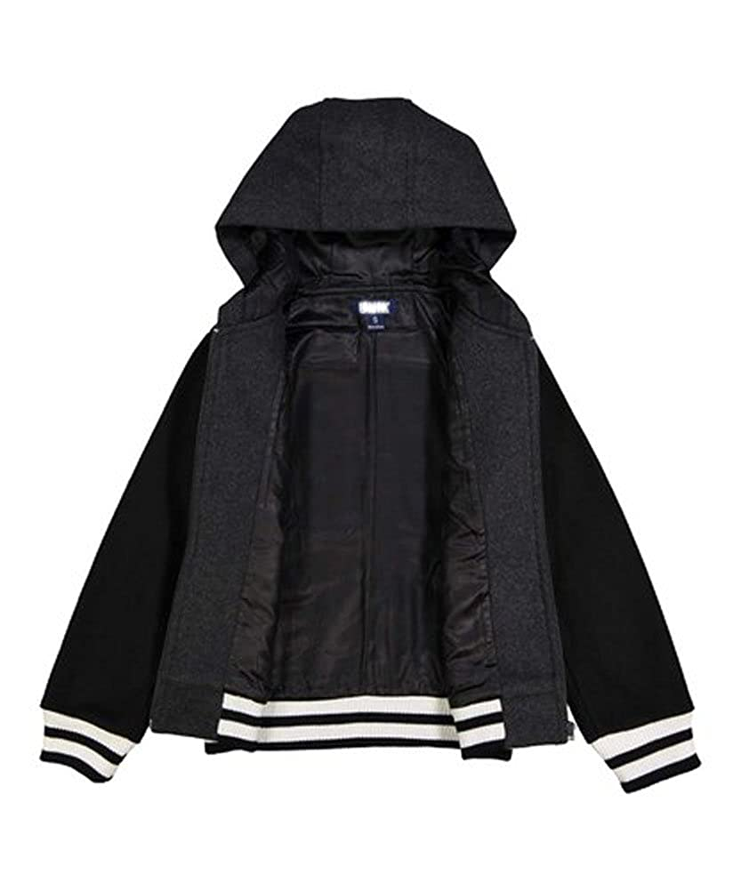 iGirldress Boys Fleece Plain Baseball Coat Sport Varsity Jacket with Hoodie
