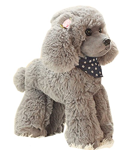 - Cosnew Squeezable Stuffed Poodle Dog Soft Plush Toy Pillow (7.8 Inches, Grey)