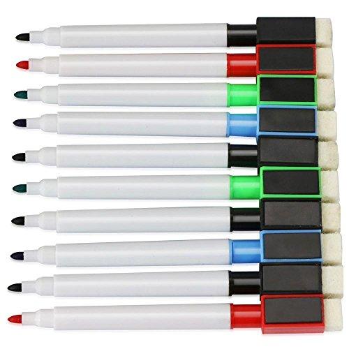 Topeakmart 10pcs Dry Erase Markers Pen for Magnetic Whiteboard Flip Chart with Built-in Eraser, Bullet Tip, Assorted - In Grip Built Eraser
