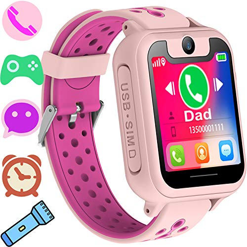Kids Smart Watch Phone GPS Tracker for Boys Girls Smart Wrist Watch Phone with SIM Activity Trackers Watch with Camera Touch Screen Anti-lost Summer Sport Wearable Phone Watch Bracelet for iOS Android
