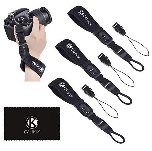 Wrist Straps for DSLR and Compact Cameras - 3 Pack - Extra Strong and Durable - Comfortable Neoprene Bracelet - Adjustable Fit - Quick Release Clip - Extra Tethers and Cleaning Cloth Included
