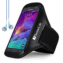 """For Samsung Galaxy Note 4 Armband Case - SumacLife Sports Armband for 4.5-5.7""""Cellphones + Blue VanGoddy Headset with MIC (Black-Neoprene)"""