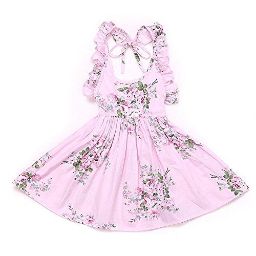 Weileenice Baby Girls' Vintage Floral Summer Dresses Beach Dress 6-7T by Weileenice