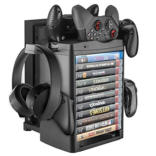 Linkstyle Vertical Storage Stand with Cooling Fan Compatible with Xbox ONE/Slim/X Console, 3*Controller, 11*Games, 1*Headset