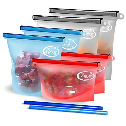 Price comparison product image All Prime Reusable Zip Top Containers 6 Pack - Reusable Ziplock Bags - Eco Friendly Food Storage - Zip Lock Seal - Six Pack of Reusable Silicone Food Bags + 2 FREE Silicone Straws