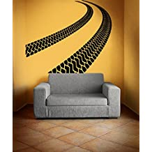 Vinyl Wall Decal Sticker Bedroom Tire Tracks Road Race Moto Car Boy Man Gift R1668