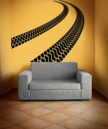 Amazon.com: Vinyl Wall Decal Sticker Bedroom Tire Tracks Road Race ...