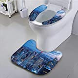 Auraisehome Use The Toilet seat erial Night of NYC with Dusk Sky Cloudy Sunin City shi Capital Non-Slip