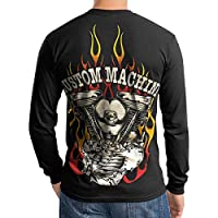 Knucklehead Custom Engine Motorcycle Biker Men T Shirt Longsleeve Black