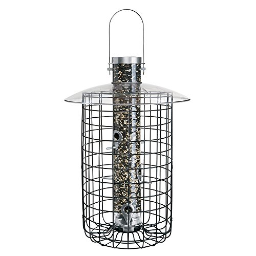 (Droll Yankees Domed Cage Sunflower Seed Bird Feeder, 20 Inches, 6 Ports, Black)