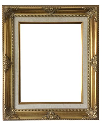 West Frames Estelle Antique Gold Natural Linen Liner Wood Baroque Picture Frame (12