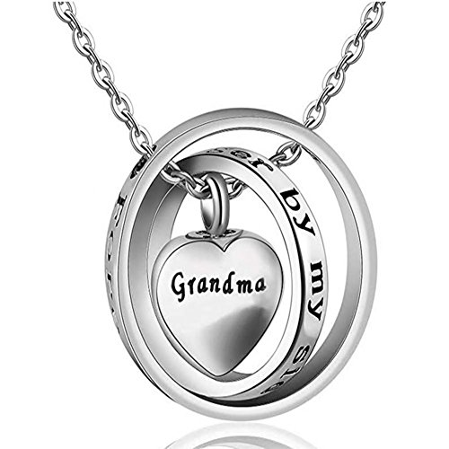 (Surlove Mom Dad Memorial Cremation Locket Urn Necklace No Longer By My Side,Forever In My Heart Ashes Keepsake (Grandma))