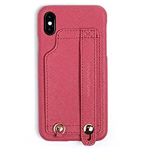 HANATORA Textured Faux Leather Wallet/Card Case with Finger Strap Holder, Handle & Card Slot for iPhone X