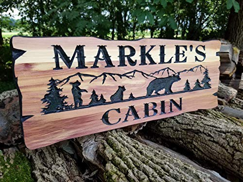 Cabin Personalized Family Cabin Lake Home Outdoor Name Custom Mountain Tree Bear Wood Hand Painted Art Sign