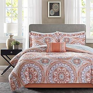"Madison Park Essentials Cozy Bag Comforter, Medallion Damask Design All Season Down Alternative Complete Sheet Set, Bed Skirt, King(104""x92""), Coral, 9 Piece"