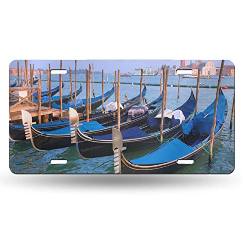 TPSXXY-LP Gondolas Venetian Adriatic Lagoon Italy Novelty Car 6x12 Aluminum Front Vehicle License Plate Frame Vanity Tag Sign