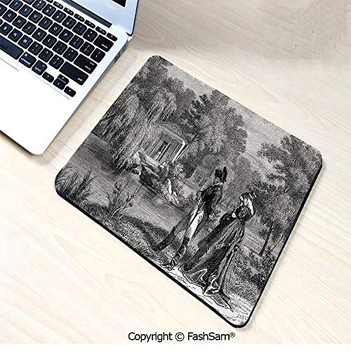 Mouse Pads Historical French Revolution Sketch with Napoleon and Woman in Garden Artwork for ()