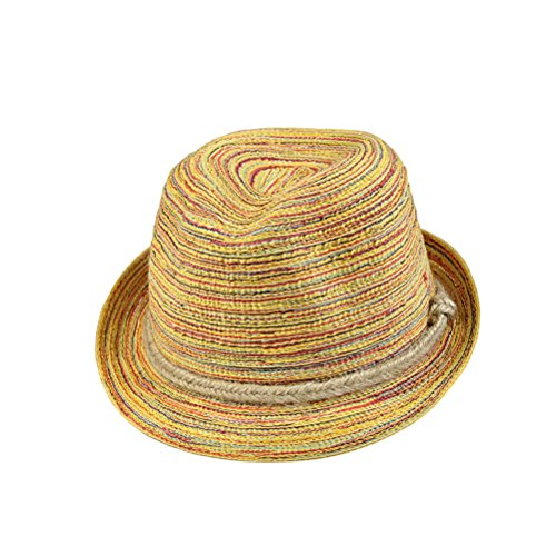 BESTOYARD Straw Fedora Hat Casual Hat Panama Striped Foldable Straw Hat Bohemia Cap