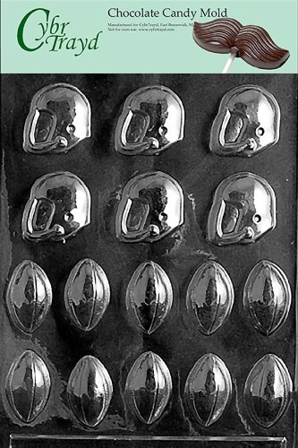Cybrtrayd S039 Bite Size Footballs and Helmets Chocolate Candy Mold with Exclusive Cybrtrayd Copyrighted Chocolate Molding Instructions