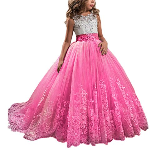 Princess Hot Pink Long Girls Pageant Dresses Kids Prom Puffy Tulle Ball Gown US 6