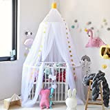 Decha Children Princess Bed Canopy Bedroom Decorative Dome Crown Top Mosquito Net (Lenth:8ft, White)