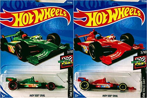 Hot Wheels Indy 500 Opal 77/250 Red and Green 2 Car Bundle Set (Pack Five Wheels Hot)