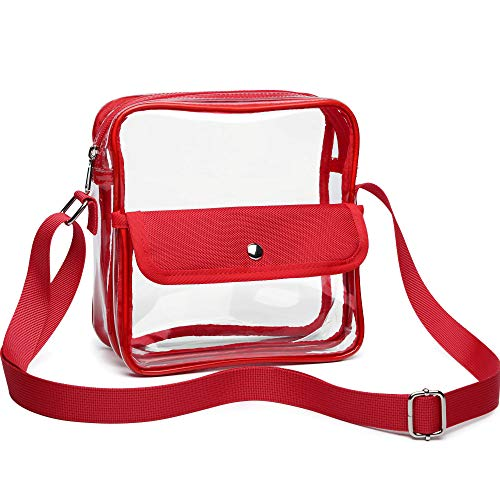 Clear Purse, F-color BTS Concert Stadium Approved Clear Bag, Cross Body Bag for Women and Men, Red