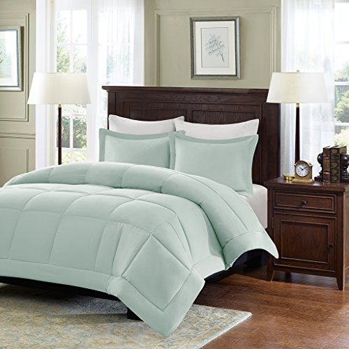 Madison Park Sarasota Microcell Down Alternative Comforter Mini Set, King/ California King, Seafoam