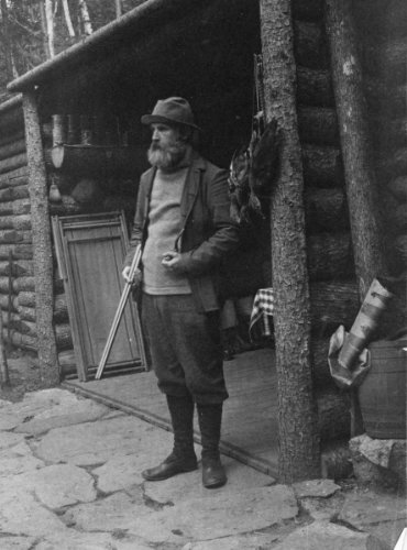 1895 photo William Brewster, full-length portrait, standing, facing left, holding shotgun outside of cabin William Brewster, full-length portrait, standing, facing left, holding shotgun outside of cabin Vintage 8x10 Photograph - Ready to Frame