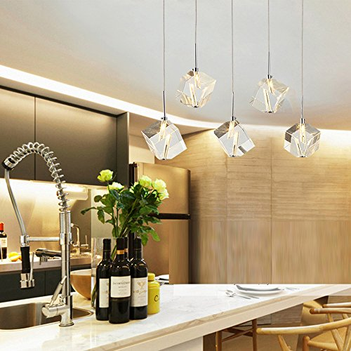 DINGGU™ Modern Lighting Island Crystal Chandelier Pendant Lamp Fixtures 5 Lights Halogen Bulbs Included (Island Lighting Kitchen)