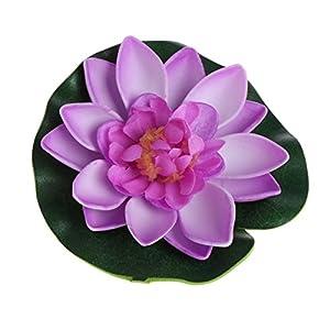 LANDUM Artificial Fake Floating Flowers Lotus Water Lily Plants Garden Tank Pond Decor (Light Purple) 101
