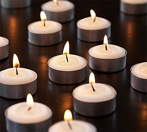 - Zion Judaica Quality Tealight Candles Unscented Set of 120 - Stark White