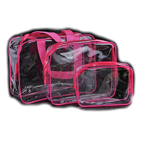 7c9ce354ac61 Galleon - 3Pcs Clear Cosmetic Bag Vinyl Air Travel Toiletry Bags ...